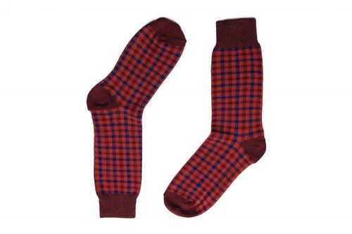 Gentle fruit check gentleman socks crimson