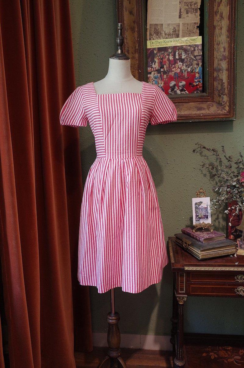 vintage條紋連衣裙古著洋裝