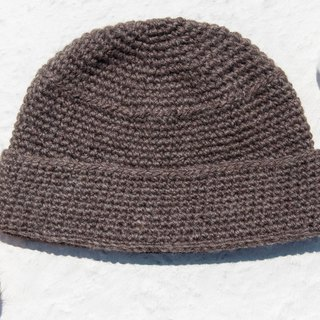 Hand-knitted pure wool hat / knit hat / knitted hat / inner brush hair hand-woven hat / wool cap - coffee