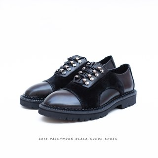 Patchwork suede leather school shoes