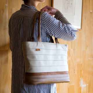 Border Leather Tote Bag / Off White and Brown