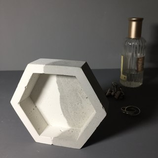Couple: Hexagon concrete container as desk organiser or accessories holder