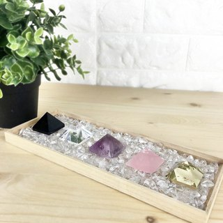 Crystal Pyramid - Citrine Powder Crystal Amethyst White Crystal Obsidian Office Device Decoration
