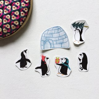 Penguin sticker B igloo sticker Little Penguin hand giving a gift Transparent sticker pack A pack of 6 into