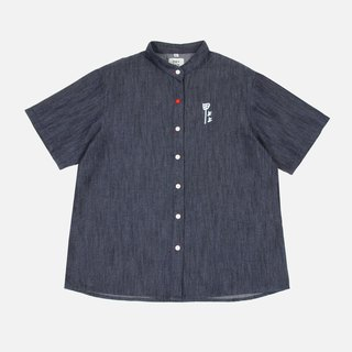 Hand-printed denim shirt on a nail - dark blue