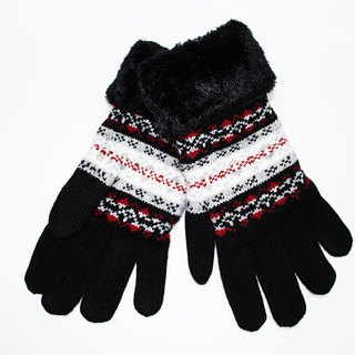 [Winter ceremony] touch knit gloves black snowflake limited models