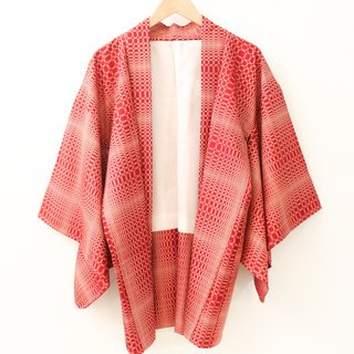 Vintage Japanese red checkered plaid and wind print vintage feather kimono jacket blouse cardigan Kimono