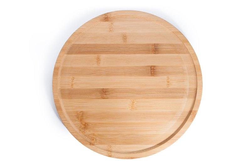 Islandoffer Japanese style bamboo wooden round tray 30cm (1psc)