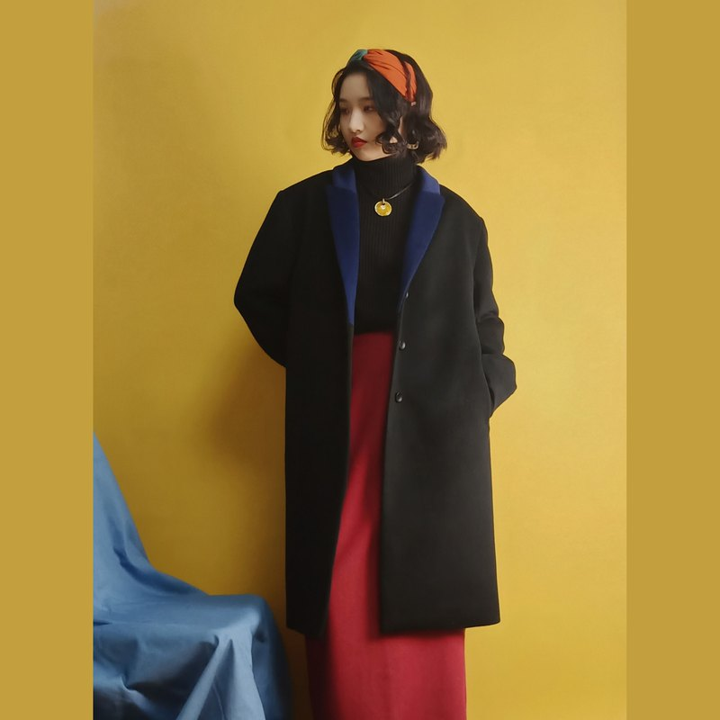 P.YELLOW | Black Long Wool Coat