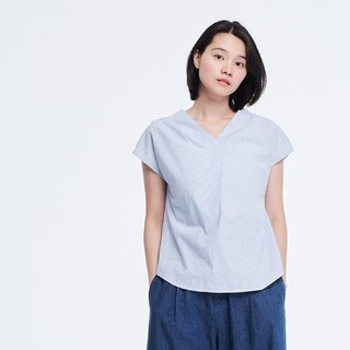 Doris Stripe Cotton V-Shaped Crew Top
