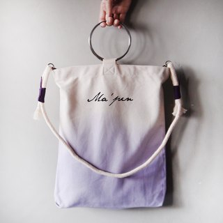 Lilac purple gradient (with round rope strap) - Hand dyed Tote bag