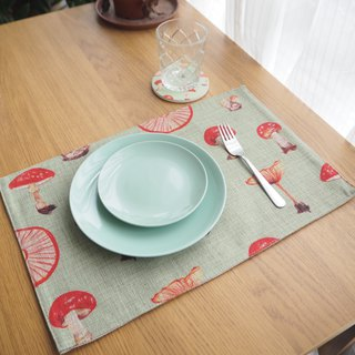 Mushroom table mat cotton and linen pot table cloth