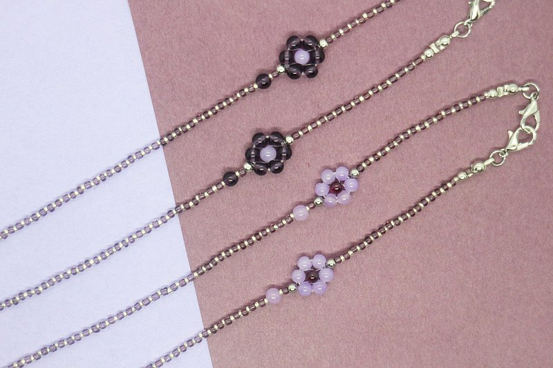 Glasses chain, mask chain/flower language series-purple