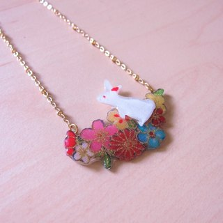 Bunny Master // 2nd use Accessories / Accessories Cloth / pair of small white rabbit necklace hand-made