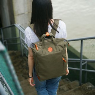 Multi-Functional Water-resistant Handmade Canvas Backpack Army Green