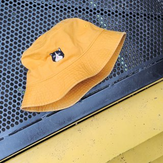 Happy cat - embroidery Bucket Hat / Yellow mustard