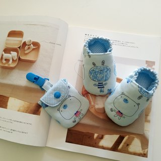 Blue bottom big doll, moon gift, baby shoes + peace symbol bag