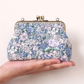 British style retro flower double-layer gold - card bag / coin purse