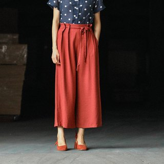 Brick red imitation copper ammonia silk flower waist lofted wide leg pants retro straight spring and summer wide pants straight pants