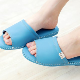 Leather indoor non-slip slippers (Funny Forest) Smoothie Blue