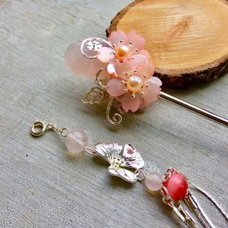 Handmade ~ Chinese style double-sided natural powder plum blossom (cherry blossom) hairpin