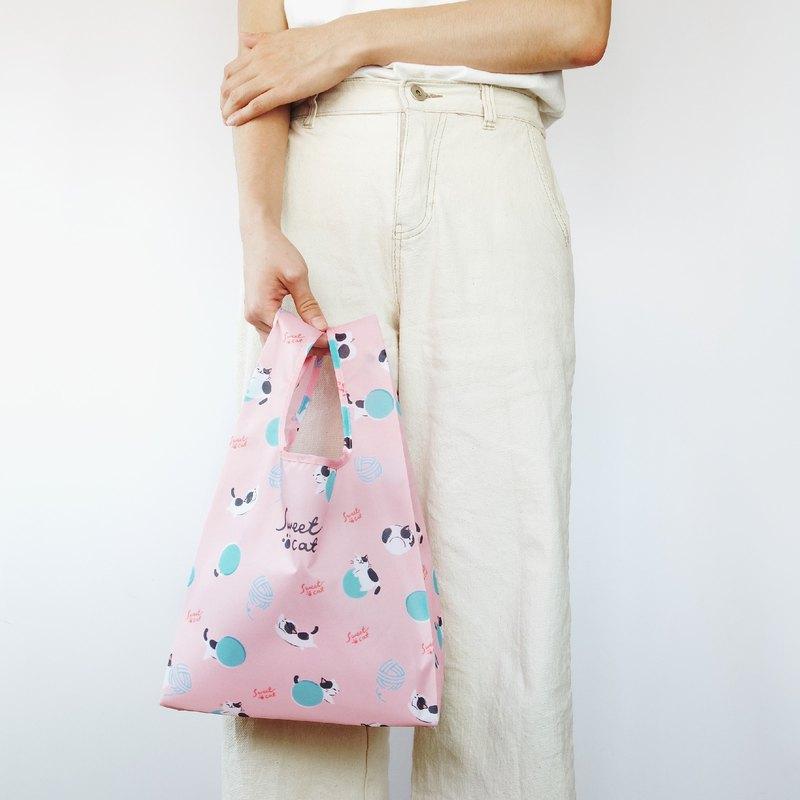 【袋走-環保購物袋】慵懶貓咪-可折疊收納