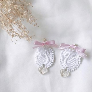 Pink ballet shoes hand made dry flower earrings ear clip