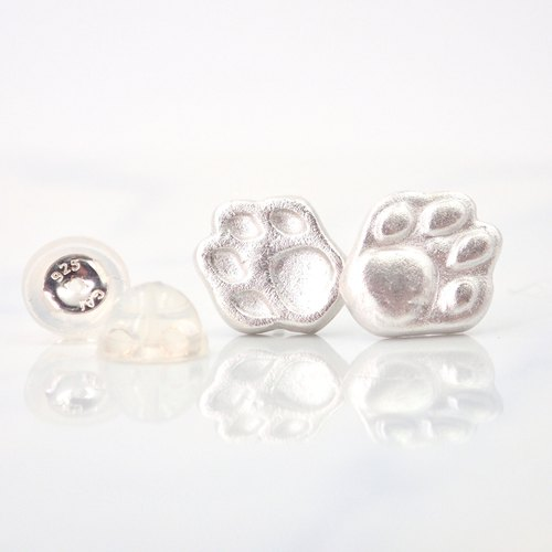 E11040 Cutie Dog Paw Silver 999 & 925 Earrings
