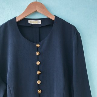 ... (Acorn Girl :: Ancient Tops) Gold Button Black Round Long Sleeve Long Sleeve Shirt