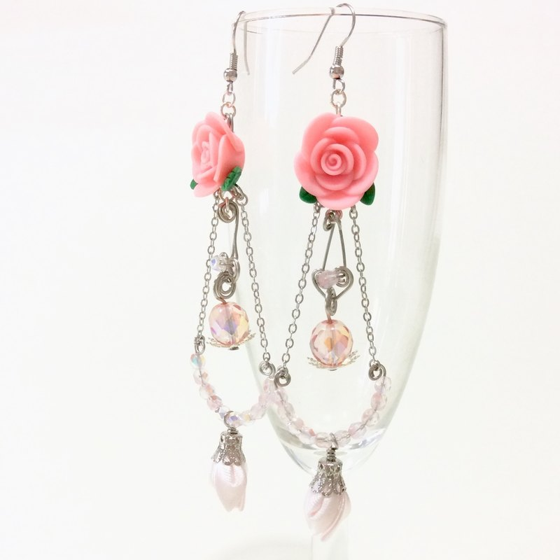 Kanzashi pink ribbon flower bud glasses beaded clay flower earrings (つまみ細工)