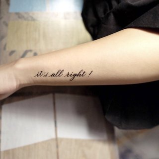"cottontatt ""it's all right!"" calligraphy temporary tattoo sticker"
