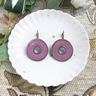 Bronze Phnom Penh Purple Circle Antique Earrings BLA070