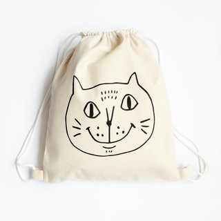 Big Cat Draw Bag / Backpack / Eco Bag / Pouting Cat / Thick / Beige + Black