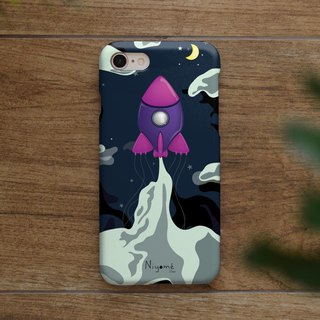 iphone case pink rocket at night for iphone5s,6s,6s plus,7,7+, 8, 8+,iphone x