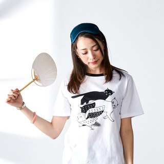 瞅啥喵White cotton cat print round neck short-sleeved T-shirt original hand-painted cute girl shirt pajamas
