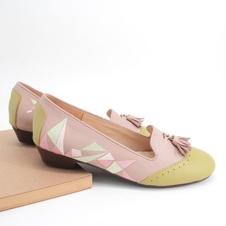 [Triangle Dance] embroidery handmade low-heeled Oxford shoes (green green powder)