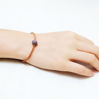 Purple Lava Bead Diffuser Thin Brown Natural Leather Bracelet with Extend Chain