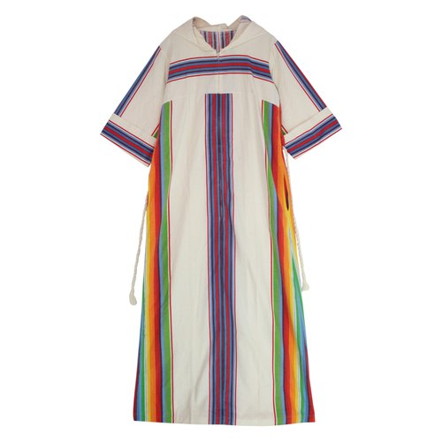Hooded striped ethnic dress