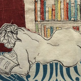 Booklover, thread sketch textle artwork