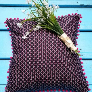 Nordic style black geometric pattern pink hairs ball pillow / cushion