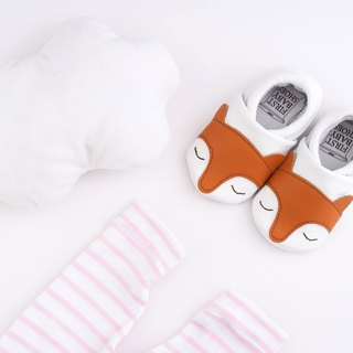 [European system] little fox First baby shoes handmade soft bottom leather toddler shoes / indoor shoes