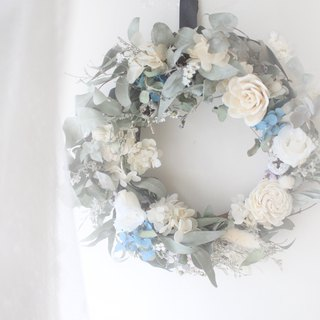 French Romantic Floral Christmas Wreath, White Rose and Eucalyptus Leaf Dry Flower Ceremony