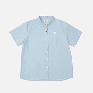 Hand-printed denim shirt on a nail - light blue