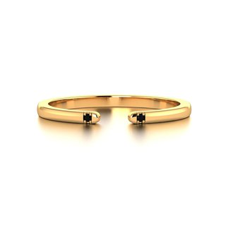 【PurpleMay Jewellery】18k Yellow Gold Black Diamond Open Ring Band R028