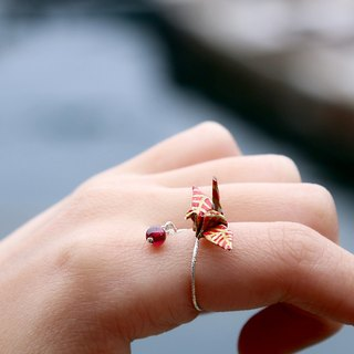 Mini cranes Crystal Ring (burgundy pomegranate) - Valentine's Day gift