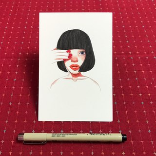 Red nose girl with postcard blocking eyes