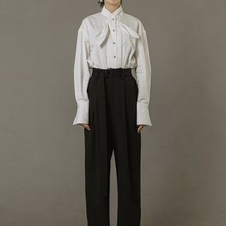 Mandarin Collar Blouse with Long Cuff Sleeves