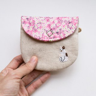 貓 Cat Embroidered Liberty Print Wee Pouch