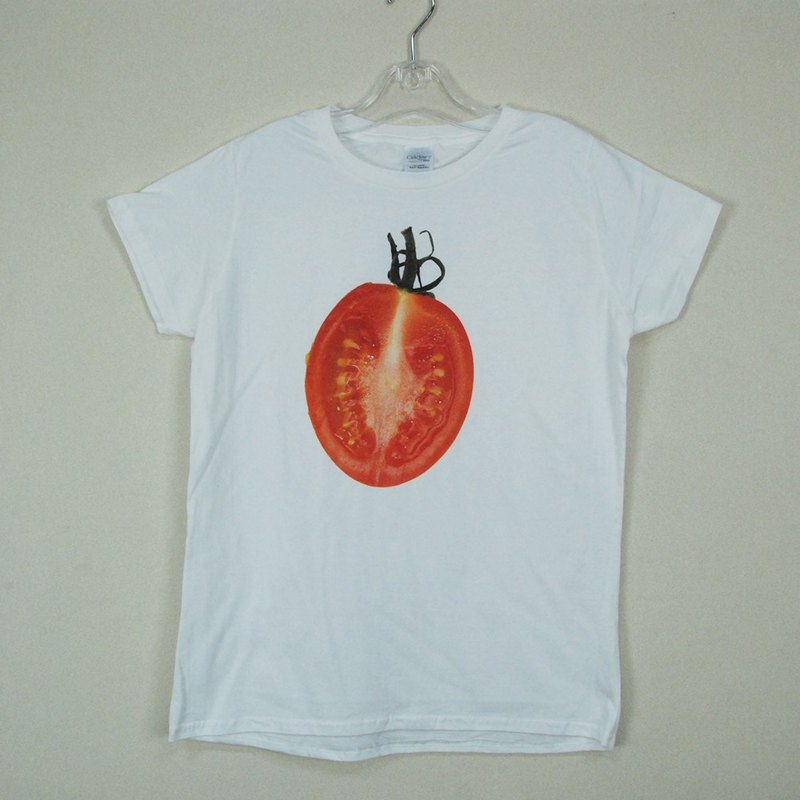 "New Year -T-shirt designer: [tomatoes] short-sleeved T-shirt ""neutral / Slim"" (white) -850 Collections"