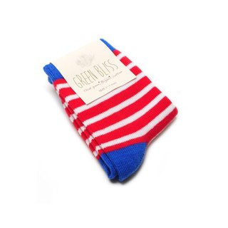 GREEN BLISS Organic Cotton Socks - [Baby Series] Cyclamen Blue Bone White Red Striped Children Socks